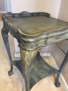 Annie Sloan chalk paint adventure! 2 coats of graphite, then dry brushed with coco, then duck egg. Distressed and dark waxed!