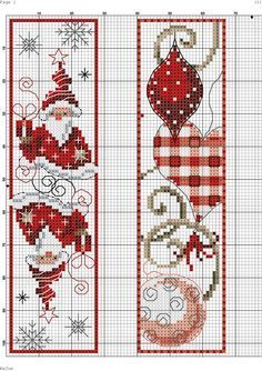 Cross Stitch Bookmarks - Christmas Gnomes and Ornaments
