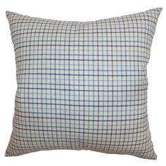 "This playful pillow would look lovely on a sofa, bed or bench. The fancy colors of light blue, dark blue and white intersect to form the check print pattern. This accent pillow works well with other patterns and colors. Try this out with solids and bright colors for a playful twist. This 18"" pillow is made from durable and soft cotton fabric. $55.00   #plaid  #tosspillow  #decors  #homedecor"