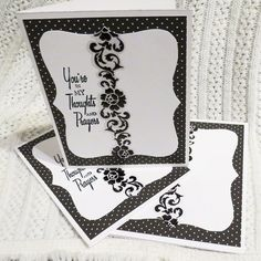 Sympathy Cards Black and White In My Thoughts and Prayers Set of Three