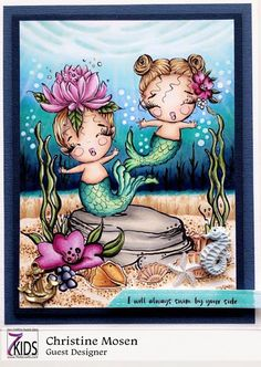 Christine Copic: THE DAILY MARKER 30 DAY COLORING CHALLENGE - DAY 2... Mermaid Skin, Baby Mermaid, Sandy Allnock, Cute Turtles, Kids Store, Winter Scenes, Digital Stamps, Clear Stamps, Birthday Presents