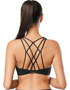 d47b0b9f2d649 Dragon Fit Womens Double Tap Sports Wirefree Bras - Medium Support Strappy Crossback  Padded Workout Yoga Bra Gym Activewear at Amazon Women s Clothing store ...