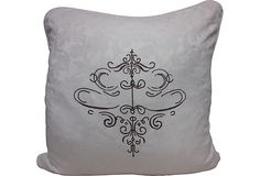 Italian Damask Pillow with embroidered center design. could be done with stencil