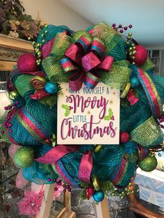 Your place to buy and sell all things handmade Retro Christmas Decorations, Christmas Mesh Wreaths, Christmas Ornament Crafts, Christmas Signs, Christmas Candy, Door Wreaths, Christmas Ideas, Turquoise Christmas, Candy Wreath