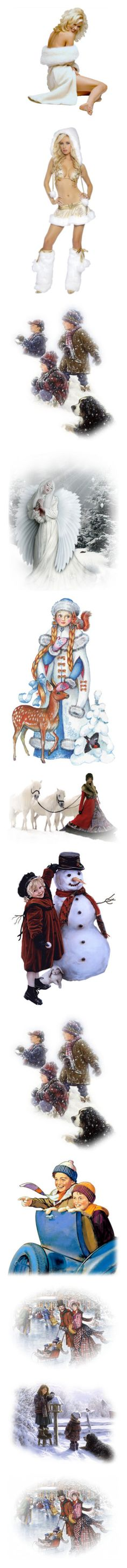 """""""Winter figures"""" by sjk921 ❤ liked on Polyvore featuring winter, christmas, children, people, tubes, backgrounds, embellishment, detail, angel and natale"""