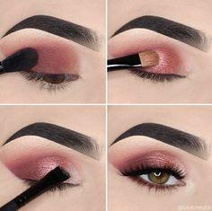 Daytime Eye Makeup, Glitter Eye Makeup, Smokey Eye Makeup, Pink Eyeshadow Look, Eyeshadow Makeup, Makeup Eye Looks, Simple Eye Makeup, Makeup For Green Eyes, Cute Makeup