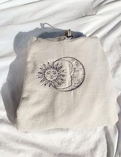 Diy Embroidery Shirt, Hand Embroidery Art, Simple Embroidery, Diy Embroidery On Clothes, Embroidery Patterns, Embroidered Sweatshirts, Embroidered Clothes, Black Thread, Sun Moon