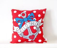 Red polka dot tattoo style nautical anchor cushion by Dollydripp at IAMA