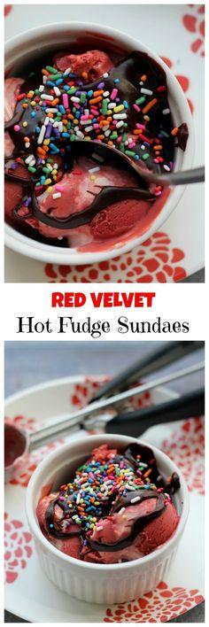 Red velvet hot fudge sundaes made with red velvet ice cream with cream cheese swirls AND red velvet hot fudge!