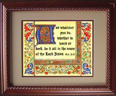 Scripture Art - Religious Art - Illuminated Scripture - Illustrated Scripture - Colossians 3:17 - via Etsy.