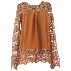 Coffee Ladies Hollow Out Long Sleeve Lace Blouses ($14) ❤ liked on Polyvore featuring tops, blouses, lacy blouses, brown lace top, brown blouse, lacy tops and lace top