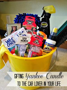 Gifting Yankee Candle to the car lover in your life Yankee Candle car lover gift basket. Boyfriend Gift Basket, Gifts For Your Boyfriend, Boyfriend Boyfriend, Gift Baskets For Men, Themed Gift Baskets, Raffle Baskets, Fundraiser Baskets, Car Lover Gifts, Autos