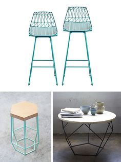 bar stool from Bend, Timber bar stool from Woodsmithe, origami coffee table from west elm