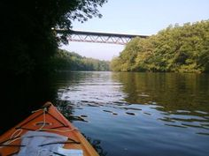 Solo boat in the water on the Lehigh River near Bethlehem, PA