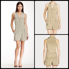 ELIZABETH & JAMES ♠️ Carrie Romper NWT Beautifully tailored, amazing quality & flattering goes with anything color... works great under a long blazer for work & goes straight to the bar with some bling and heels!   V-neck with notched collar Decorative pocket at bust Hidden front snap closure Banded & pleated waist Side slip pockets Back welt pockets Tonal top stitching & panel seaming Zip fly with hook and bar, hook-&-eye, & interior button closure Fully lined  Dry clean only  100% silk…