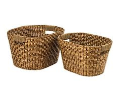 Set de 2 cestas de almacenaje en fibra de jacinto - natural