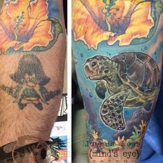 Cover-up of a sea turtle tattoo by Joshua Ross (note: Josh did not do the original tattoo or the flower)  at Mind's Eye Tattoo in Emmaus, Pa. https://www.facebook.com/artronin9 #tattoo #tattoos #tattooing #tattooed #love #mindseyetattoo #lehighvalley #Pennsylvania  #allentown  #Emmaus #coverup #seaturtle #ocean #turtle