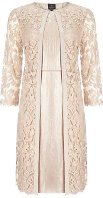 Adrianna Papell Lace Yoke Shimmer Sheath #Dress And Coat, Jute