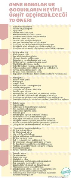 Parents and Children can have a pleasant time 7 Anne Babalar ve Çocukların Keyifli Vakit Geçirebilecekleri 70 Öneri 70 Tips for Parents and Children to Enjoy - Parenting Done Right, Parenting Fail, Parenting Toddlers, Foster Parenting, Gentle Parenting, Parenting Humor, Creative Activities For Kids, Raising Teenagers, Attachment Parenting