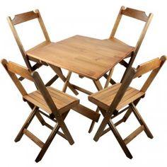 314,00 60x60cm - Jogo Mesa Conjunto 4 Cadeiras Madeira 60 por 60 Dobráveis Natural