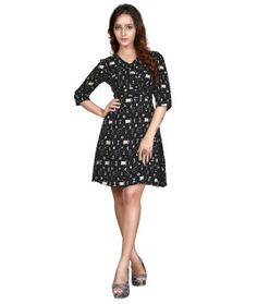 Youthful Black And White Rayon Kurti.