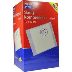 SAUGKOMPRESSEN steril 10x20cm:   Packungsinhalt: 25 St Kompressen PZN: 06706391 Hersteller: Gothaplast GmbH Preis: 33,90 EUR inkl. 19 %…