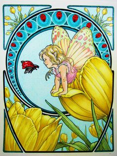 From Herb Leonhards 'Faerie Nouveau' coloring book. Colored pencil only, used Faber Castelle's, and Prisma's.