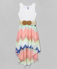 Pink & Blue Chevron Belted Hi-Low Dress - Girls