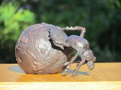 Bronze Insect Sculptures, to include Bees, Ants, Moths Butterflies etc sculpture by artist Rosie Sturgis titled: 'Dung Beetle (bronze with Elephant Dung sculptures/statuettes/statues)'