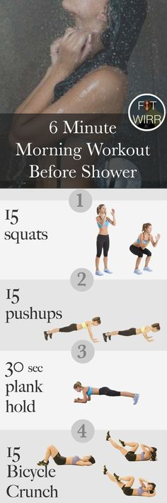 6 minute morning workout routine to burn calories and incinerate fat. Short yet intense and targets your whole body http://fitwirr.com/workout/plan/6-minute-mini-morning-workout-crush-calories-and-m/