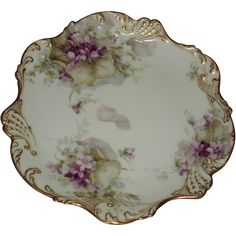 George Leykauf Signed Antique French Limoges Violets Cabinet Plate from inlovewithantiques on Ruby Lane