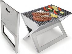 """The Fold Flat Grill ($80) - less than 1"""" thick when folded, it unfolds to 17 3/4"""" L x 13"""" W x 13"""" H. Ideal for convenient charcoal or hardwood grilling at picnics, beaches, or homes. Made from durable 304 stainless steel, the grill provides a 17 1/2"""" x 13"""" W cooking area. Good to take on vacation!"""