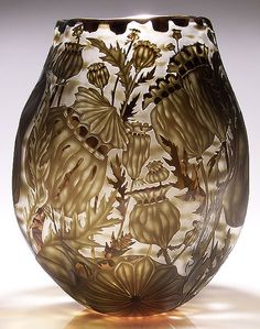 """Glass Art, Mary Mullaney, """"Dried Poppies"""", Sand Carved and Engraved Vessel,  16"""" x 13"""""""