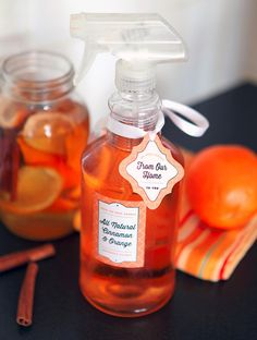 DIY:  How to Make Homemade Orange Cinnamon Cleaner - using vinegar, orange peels and cinnamon sticks - via Evermine