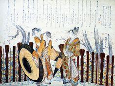 1798-1800 葛飾 Katsushika Hokusaï Oiran et Shinzo se promenant Estampe Surimono format Koban papier 47.8x65 cm