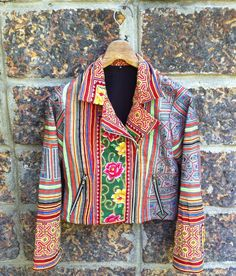 Part of the new seasons drop which will be landing very soon. Biker style jackets handmade from upcycled hilltribe fabrics.