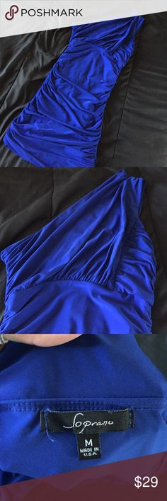 Royal blue body con dress worn once Royal blue dress. Worn once! Purchased from Nordstrom Nordstrom Dresses One Shoulder