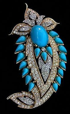 Vtg TRIFARI Jewels of India JOI Turquoise Cabochon Rhinestone Brooch Pin