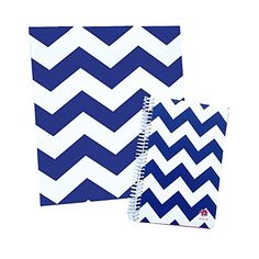 """bloom daily planners Binder (+) 3 Ring Binder (+) 1 Inch Ring (+) 10"""" x 11.5"""" Inches - Navy Chevron Design"""