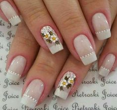 I like the dots not the flowers! Daisy Nails, Flower Nails, Colorful Nail Designs, Nail Art Designs, Feather Nail Art, Bella Nails, Opi Nails, Manicures, Nail Art Hacks