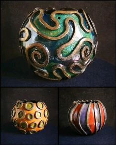 Raku set of three coral reef style planters for succulents, hangable! by Federico Becchetti Art, fin Raku Pottery, Slab Pottery, Pottery Art, Ceramic Clay, Ceramic Bowls, Pottery Videos, Polymer Clay Art, Diy Clay, Burning Incense