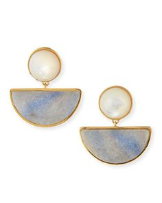 Geometry Quartzite Drop Earrings by Lizzie Fortunato at Neiman Marcus. Blue Drop Earrings, Gold Earrings, Witch Jewelry, Moon Jewelry, Designer Earrings, Statement Jewelry, Artisan Jewelry, Earrings Handmade, Neiman Marcus
