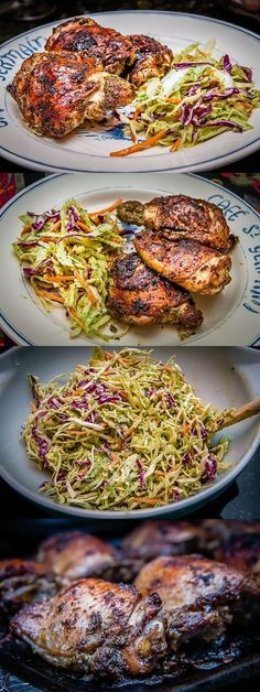 Jamaican Jerk Chicken with Serrano Lime Slaw by angelasfoodlove via scoop.it Chicken Jamaican Jerk Slaw Jamaican Cuisine, Jamaican Dishes, Jamaican Recipes, Authentic Jamaican Cabbage Recipe, Jamaican Desserts, Jamaican Chicken, Jamaican Rice, Carribean Food, Gastronomia