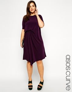 Love the front waist pleat to get some definition and interest. ASOS CURVE Exclusive Dress With Drape Front