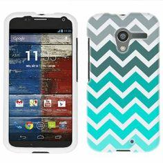 Amazon.com: Motorola Moto X Chevron Grey Green Turquoise Pattern Phone Case Cover: Cell Phones & Accessories