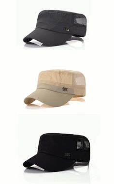 Men Outdoor Sport Flat Baseball Quick-dry Hat Leisure Adjustable Snapback Net Cap