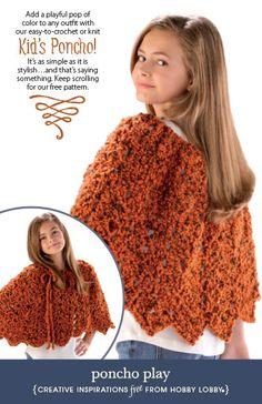 Hobby Lobby Project - Poncho Play - crochet ponchos, ponchos, kids ponchos, kids crochet, yarn poncho