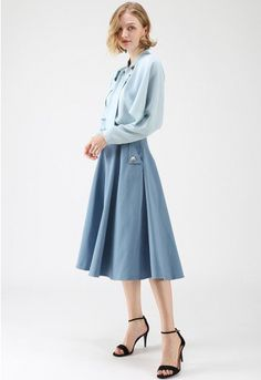 c4fe6594524 Classic Simplicity A-Line Midi Skirt in Blue
