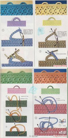 If you looking for a great border for either your crochet or knitting project, check this interesting pattern out. When you see the tutorial you will see that you will use both the knitting needle and crochet hook to work on the the wavy border. Crochet Loop, Crochet Buttons, Crochet Motifs, Crochet Stitches Patterns, Love Crochet, Learn To Crochet, Crochet Crafts, Crochet Yarn, Crochet Projects