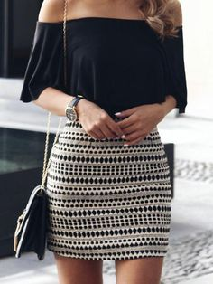 Black off shoulder top + Aztec print skirt – Summer Fashion Fashion Mode, Fashion 2017, Look Fashion, Fashion Outfits, Womens Fashion, 90s Fashion, Fashion Styles, Dress Fashion, Fitness Fashion